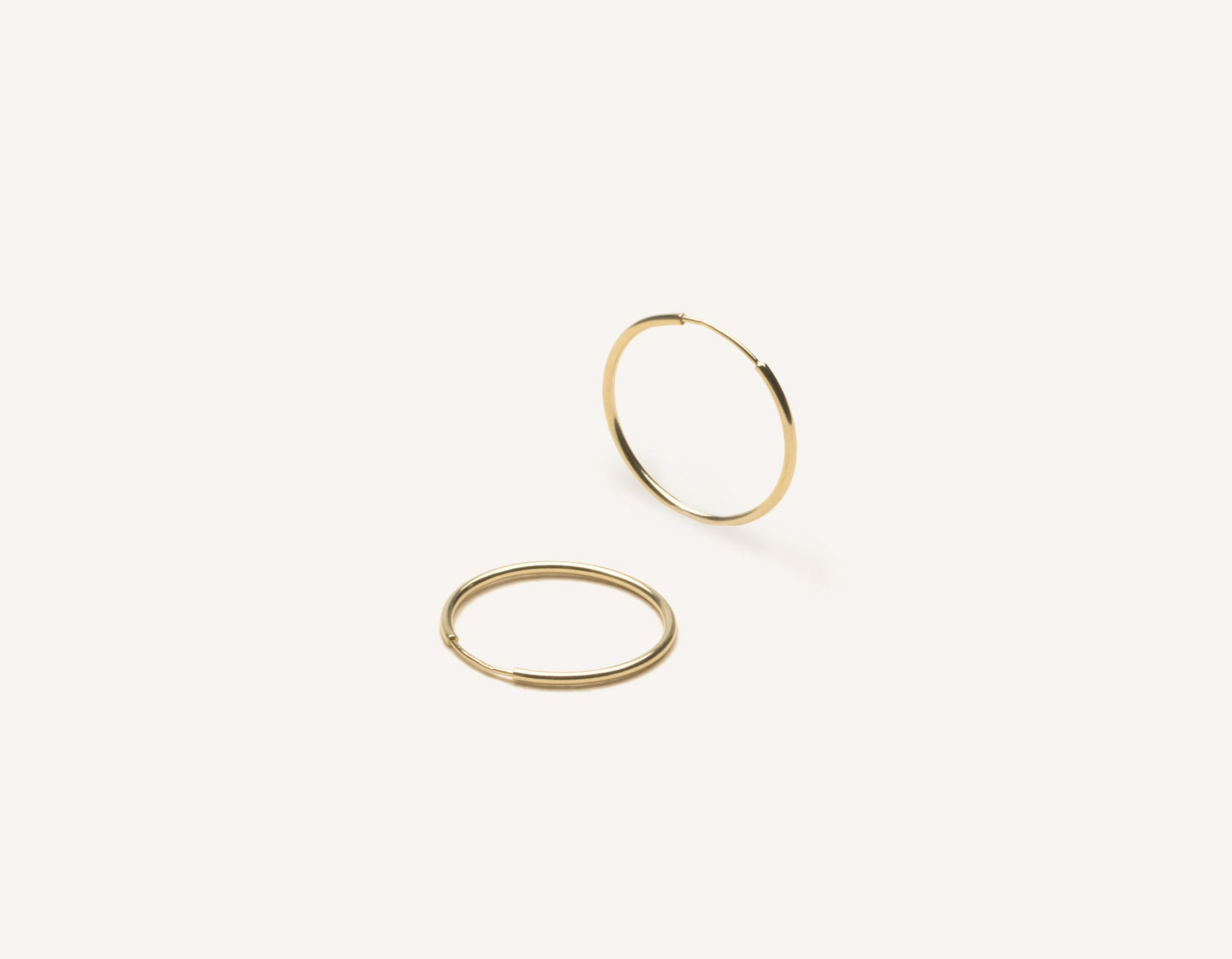 Simple classic thin Medium Lightweight Hoops 14k solid gold Vrai and Oro minimalist jewelry, 14K Yellow Gold