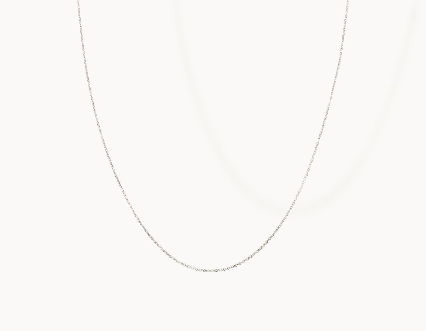 Delicate simple diamond cut Shimmer Chain Necklace by Vrai, 14K White Gold