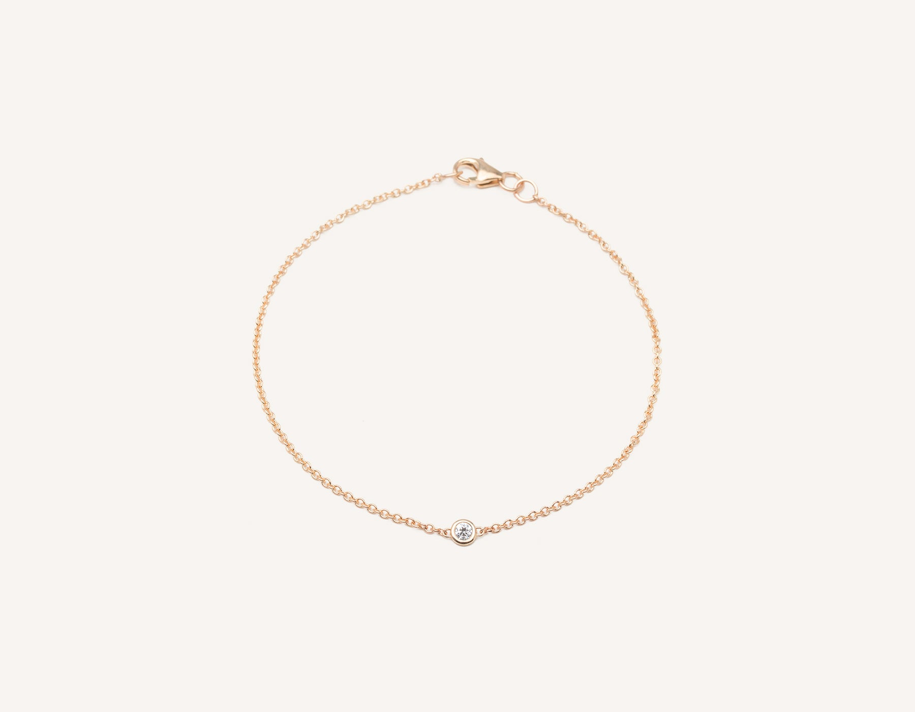 Simple modern 14k solid gold round brilliant diamond Solitaire Bracelet bezel set on thin chain with lobster clasp Vrai and Oro, 14K Rose Gold
