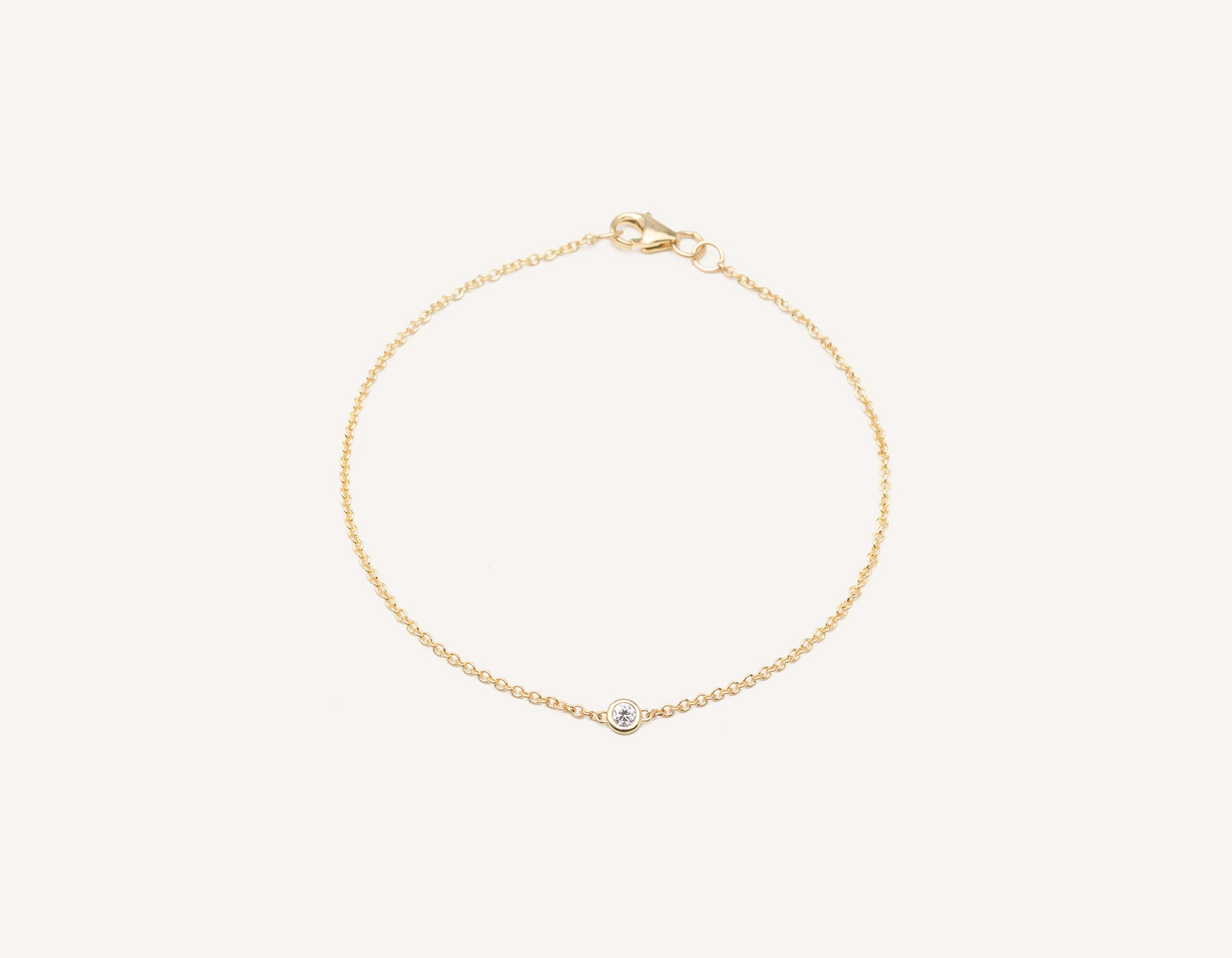 Simple modern 14k solid gold round brilliant diamond Solitaire Bracelet bezel set on thin chain with lobster clasp Vrai and Oro, 14K Yellow Gold