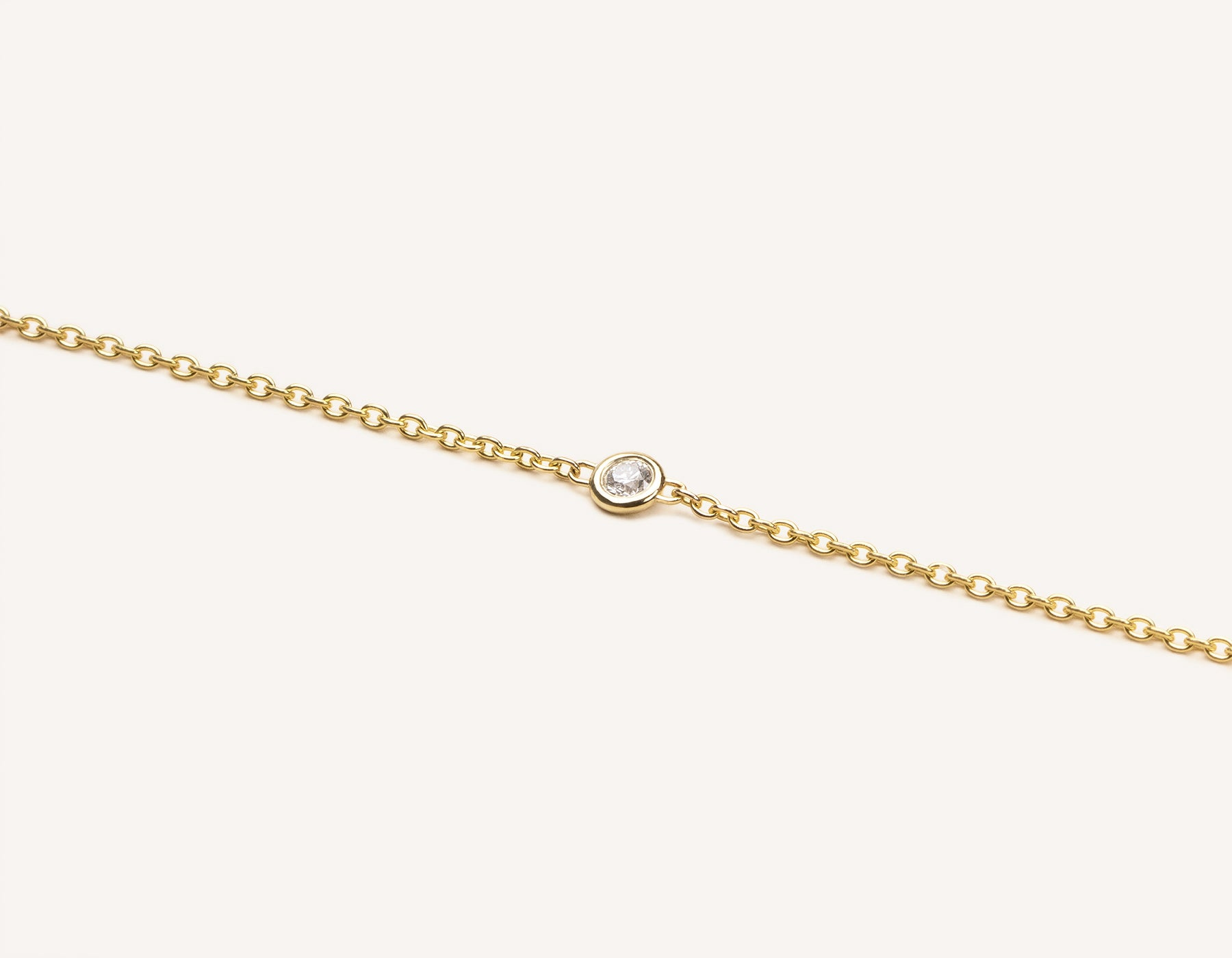 Simple classic 14k solid gold .04 carat round brilliant cut Solitaire Diamond Bracelet on delicate chain Vrai & Oro, 14K Yellow Gold