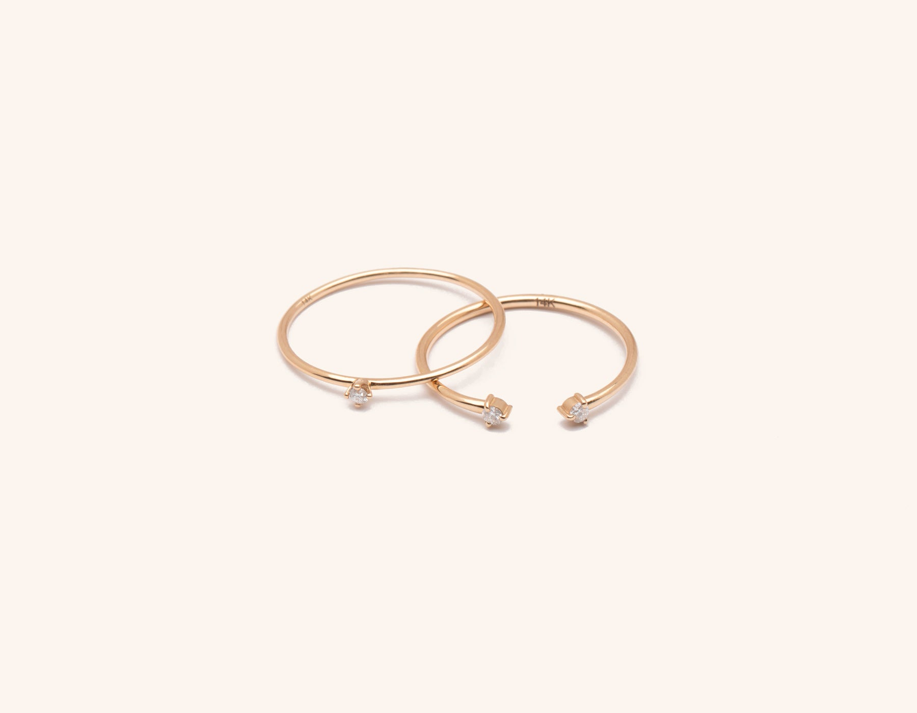 Solid 14K gold Constellation Stack diamond ring bundle by Vrai & Oro minimalist classic sustainable jewelry, 14K Rose Gold