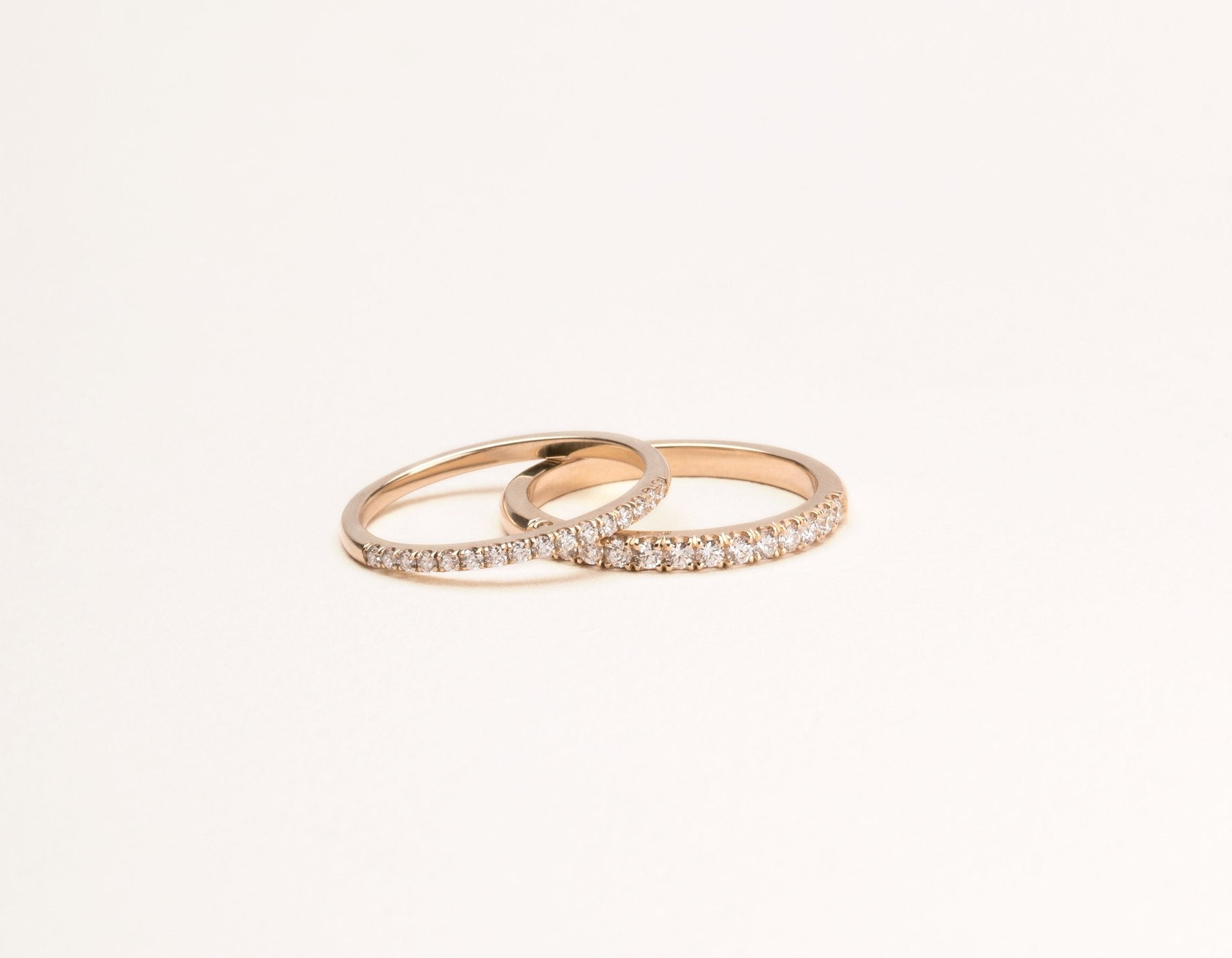 Classic minimalist Large Diamond Pave Band ring pair Vrai & Oro sustainable jewelry, 14K Rose Gold