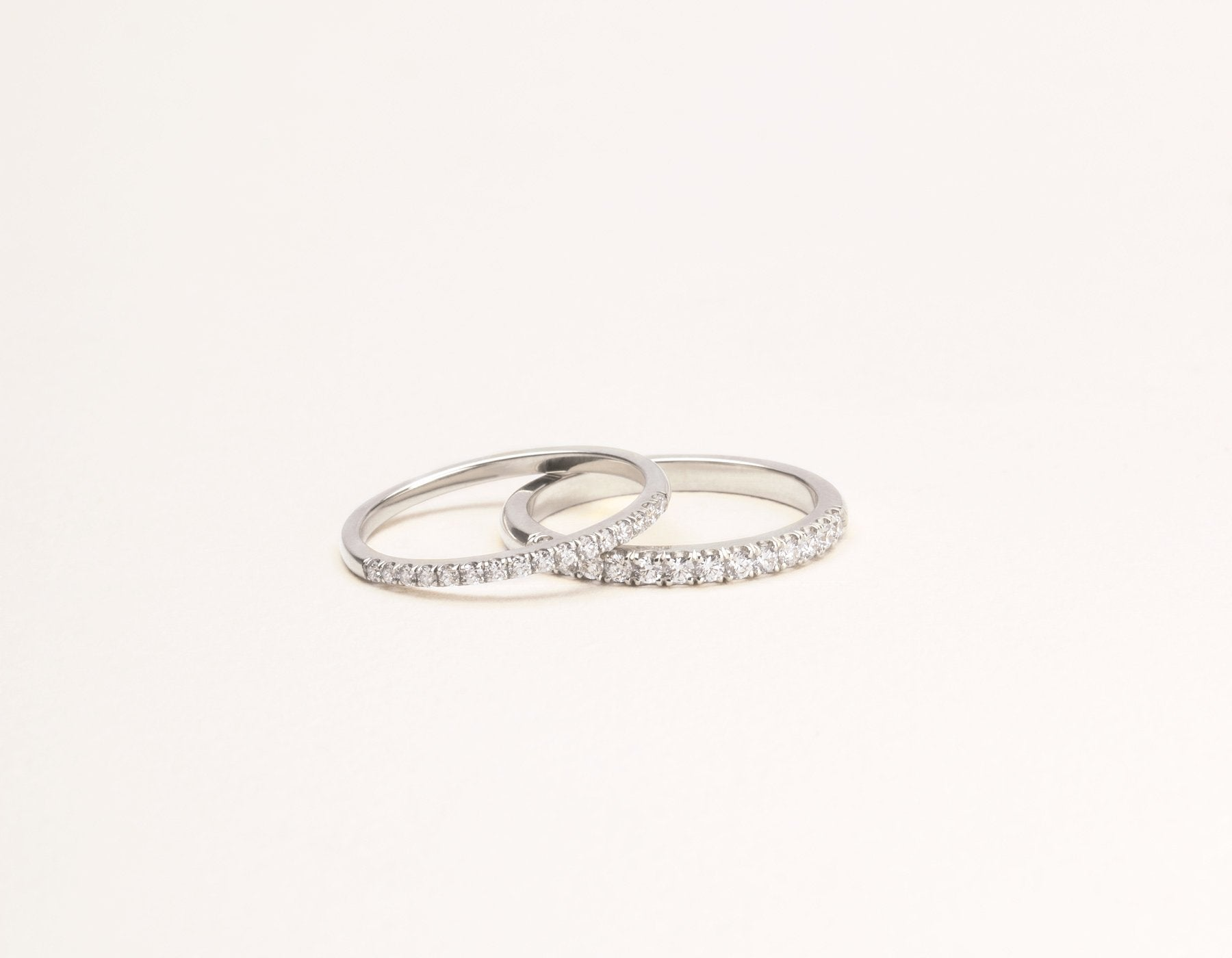 Classic minimalist Large Diamond Pave Band ring pair Vrai & Oro sustainable jewelry, 14K White Gold
