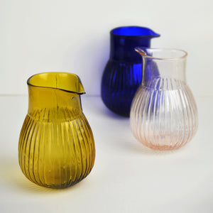 Varsha Striped Jug - Blue Glass