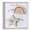 rainbow and star hair clips