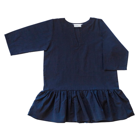 Girls Gathered Tunic In Navy