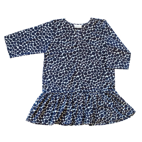 Girls Gathered Tunic In Navy Dot