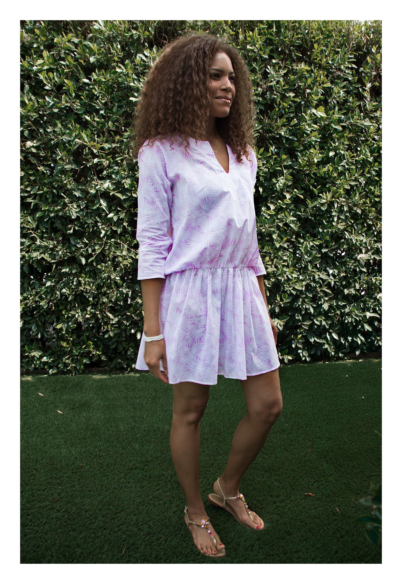 Womens Gathered Tunic In Pink Palm