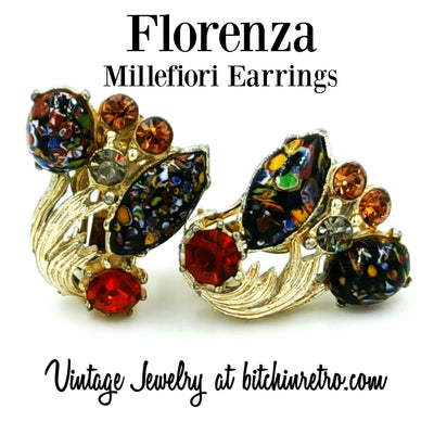 Florenza Millefiori Vintage Earrings at bitchinretro.com