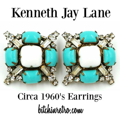 Kenneth Jay Lane Rhinestone Earrings Circa 1960's at bitchinretro.com
