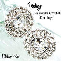 Swarovski Crystal Vintage Earrings With Rope Chain Detail and Swan Logo