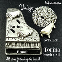Torino Vintage Pewter Piano Set with Necklace Brooch Earrings and Case