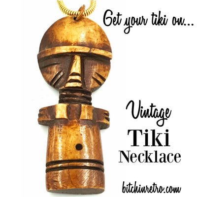 Vintage Tiki Wooden Necklace at bitchinretro.com