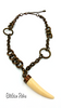 Copper Chain Link Necklace with Faux Ivory Tusk By Designer You & I Safari Theme