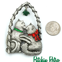 JJ Vintage Pin with Kissing Kitties Under The Christmas Mistletoe