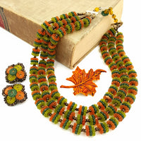 West Germany Vintage Necklace and Earring Set with Autumn Leaf Brooch