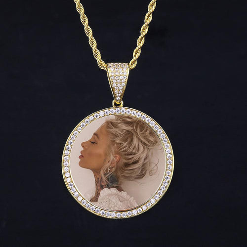 14k Gold Iced Out Custom Photo Pendant