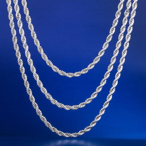 "3MM White Gold Rope Chains Set (20""+22""+24"")"
