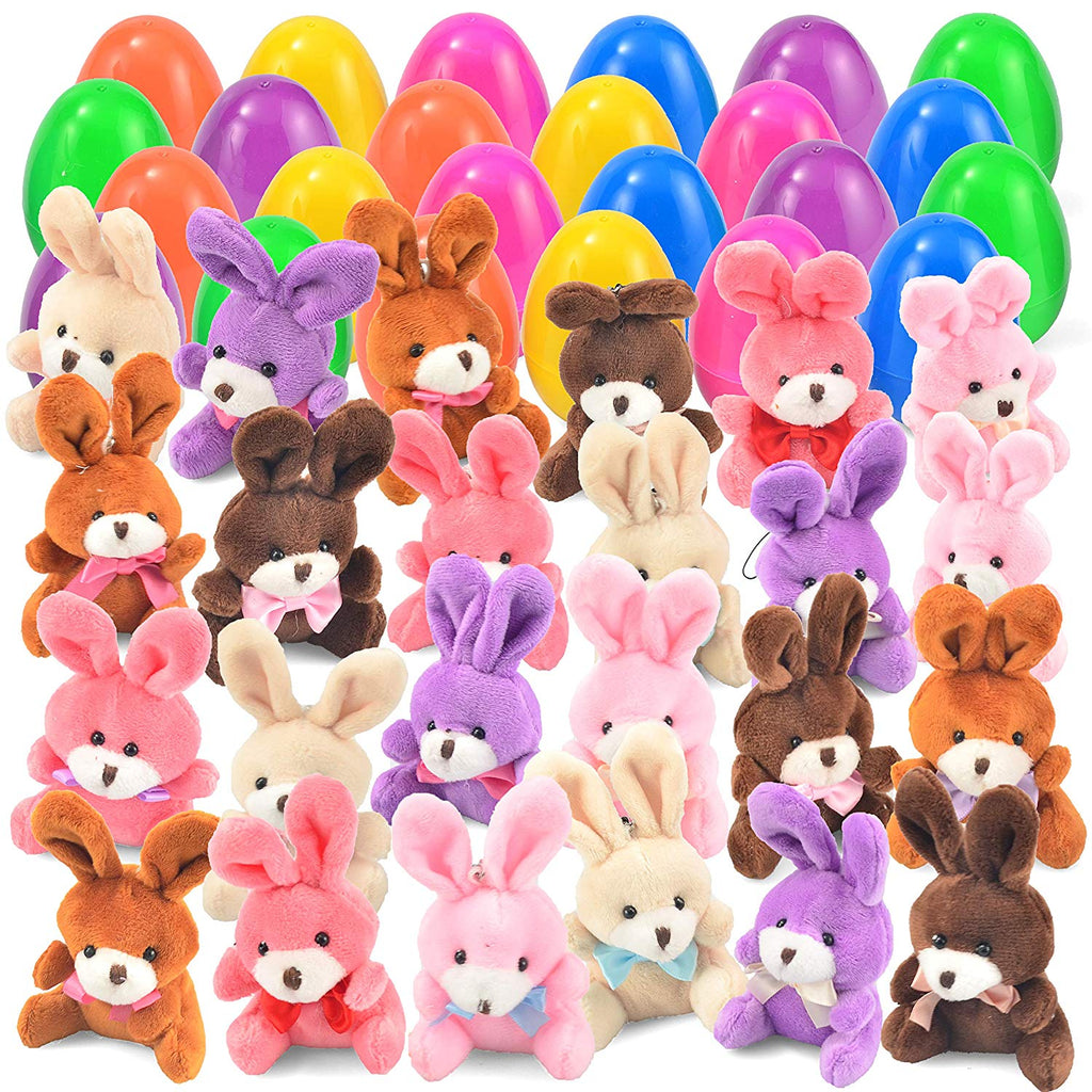 24 Pre-filled Easter Eggs with Plush Bunnies