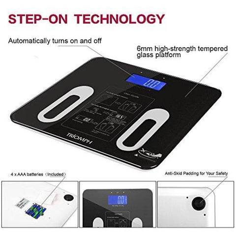Triomph Precision Body Fat Scale with Backlit LCD Digital Bathroom Scale For Body Weight Body Fat Water Muscle BMI Bone Mass and Calorie 10