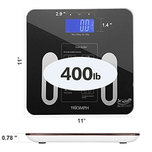 Triomph Precision Body Fat Scale with Backlit LCD Digital Bathroom Scale For Body Weight, Body Fat,Water,Muscle,BMI,Bone Mass and Calorie,10 User Recognition 400 lbs Capacity, Fat Loss Monitor, Black