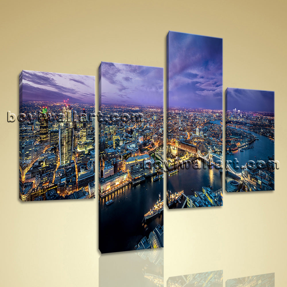 Large London Skyline Painting Contemporary Canvas Art Bedroom Four Panels Print