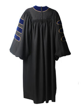 Load image into Gallery viewer, Deluxe Royal Blue Doctoral Graduation Gown with Gold Piping & Doctoral 8-Side Tam Package