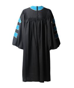 Deluxe Peacock Blue Doctoral Graduation Gown with Gold Piping & Doctoral 8-Side Tam Package