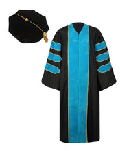 Load image into Gallery viewer, Deluxe Peacock Blue Doctoral Graduation Gown with Gold Piping & Doctoral 8-Side Tam Package