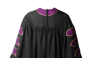 Deluxe Purple Doctoral Graduation Gown Regalia Doctoral Gown Only with Gold Piping