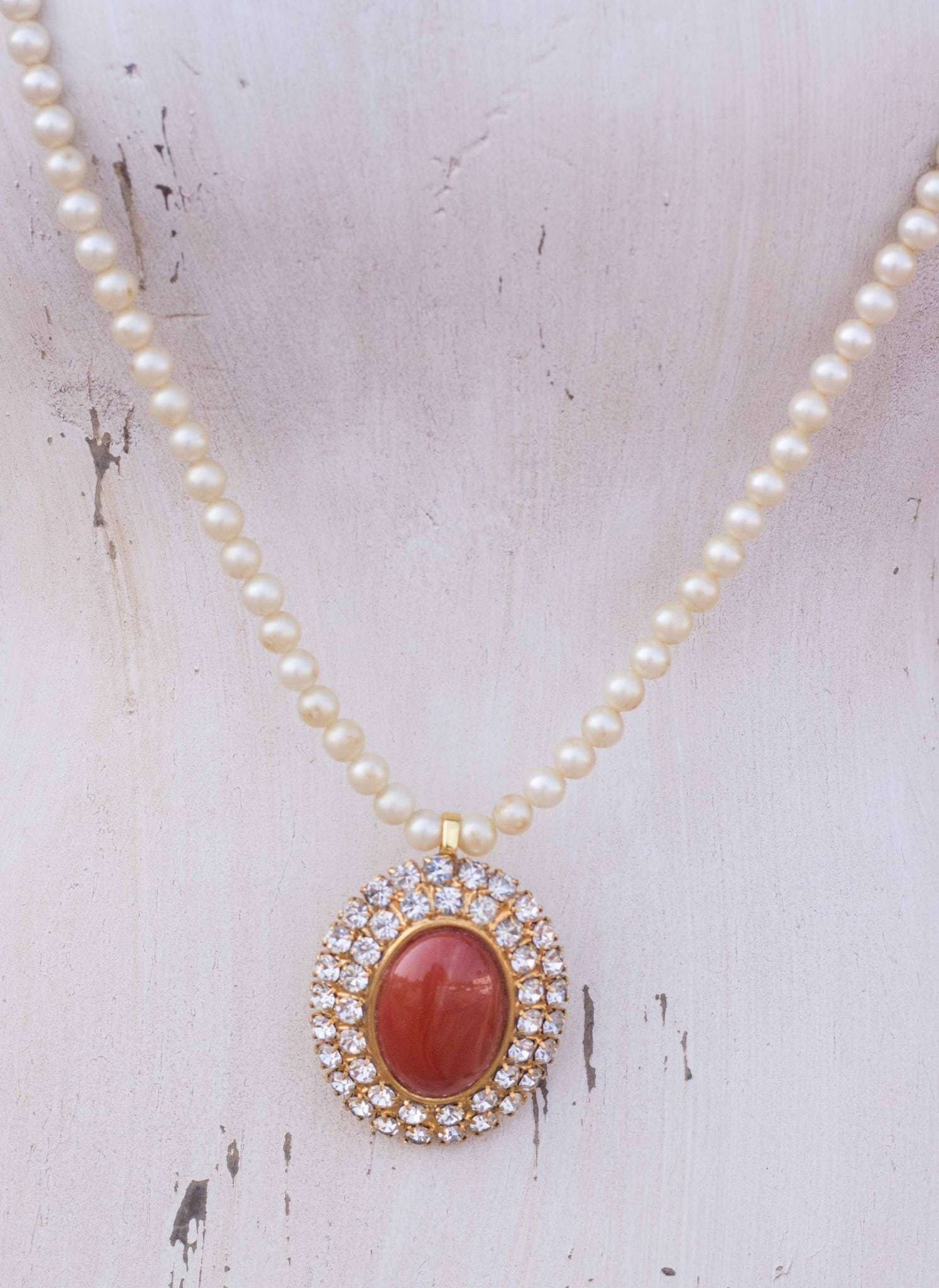 Vintage Necklace with Rhinestone Pendant