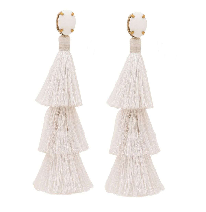 Triple Layer Tassel Earrings in White