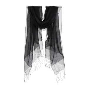 Double Layer Silk/Cotton & Silk Organza Scarf – Black