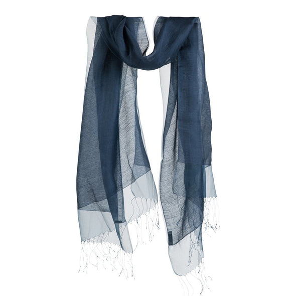 Double Layer Silk/Cotton & Silk Organza Scarf – Petrol Blue