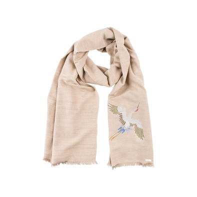 Spirit of Freedom Crane Scarf (Natural) - Lotus/Silk (Made to Order)