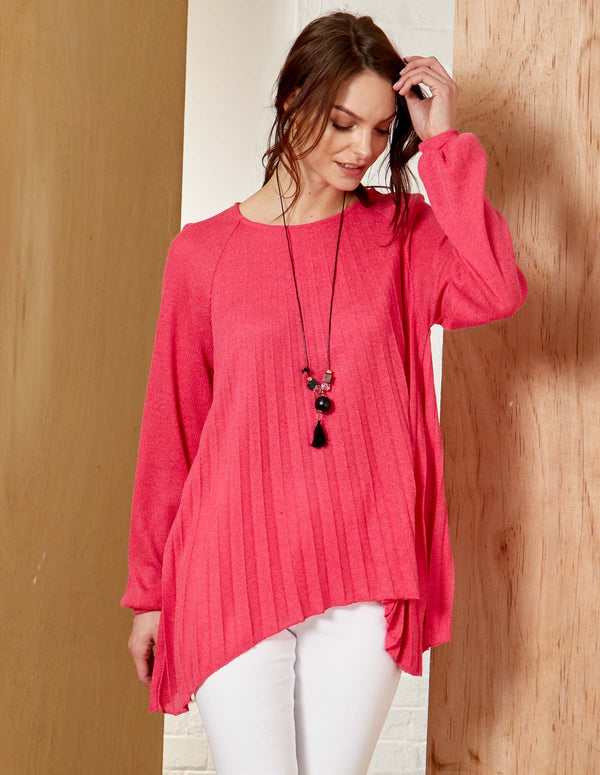 TANA - Pleated Long Sleeve Necklace Detail Hot Pink Jumper