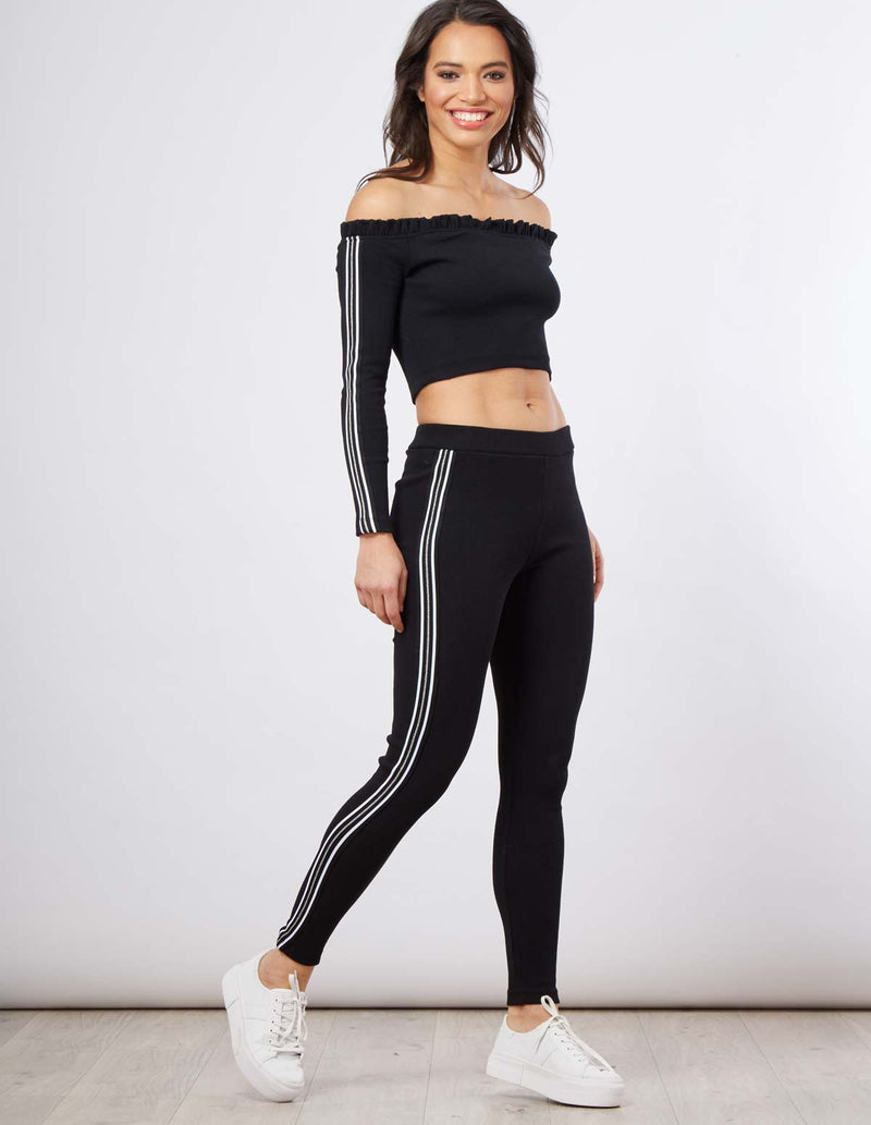 FEARNE - Side Stripe Ribbed Black Tracksuit