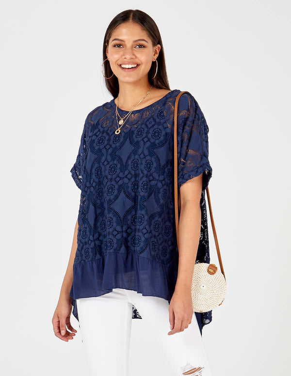 MAEGAN - Flowered Burnout Navy Top