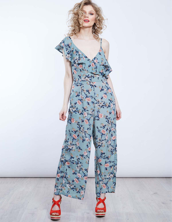 KAELIE - Printed One Sleeve Culotte Jumpsuit
