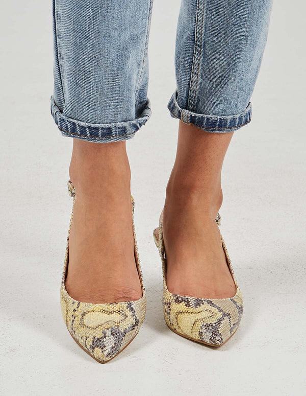 KAYLEE - Pointed Slingback Yellow Snakeskin Print Pumps