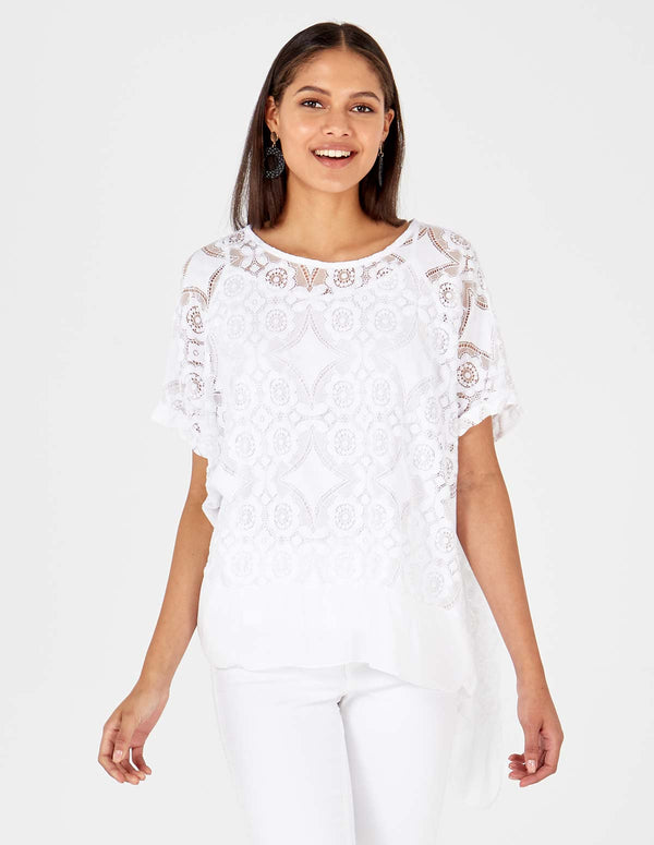 MAEGAN - Flowered Burnout White Top