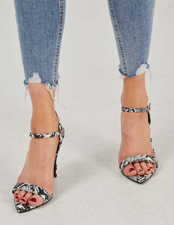 TATIANA - Pointed Toe Snakeskin Strap Black Sandals