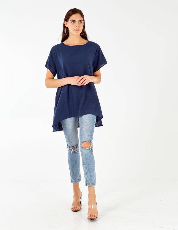 AUGUSTA - Linen Drop Pocket Hi Low Navy Tunic