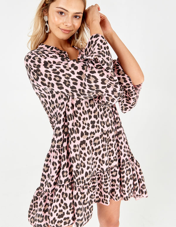LIBBY - Long Sleeve Animal Print Oversized Pink Tunic