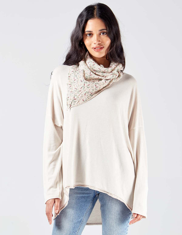LEYLA - Plain Oversized Beige Top Printed Scarf