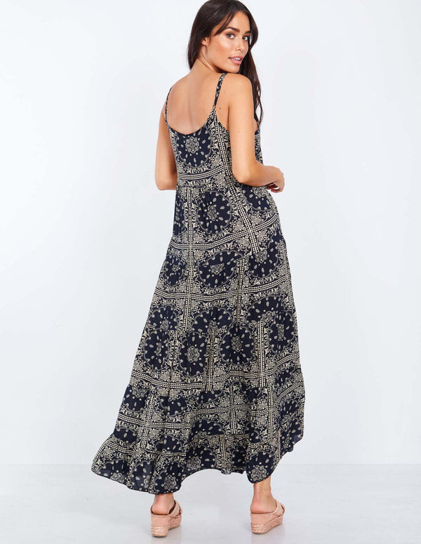 LARIN - Straps Patterned Navy Maxi Dress