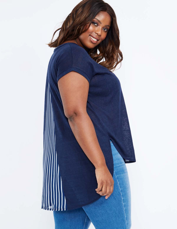 DANELE - Stripe Insert Split Back Navy Top