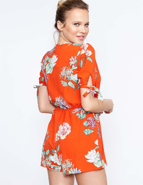 IOLA - Tie Wrap Printed Playsuit