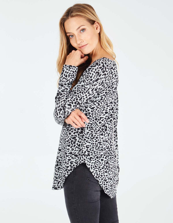 PIPPA - Leopard Print Zip Back Grey Top